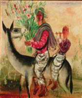 Reuven Rubin- Father & son on a Donkey